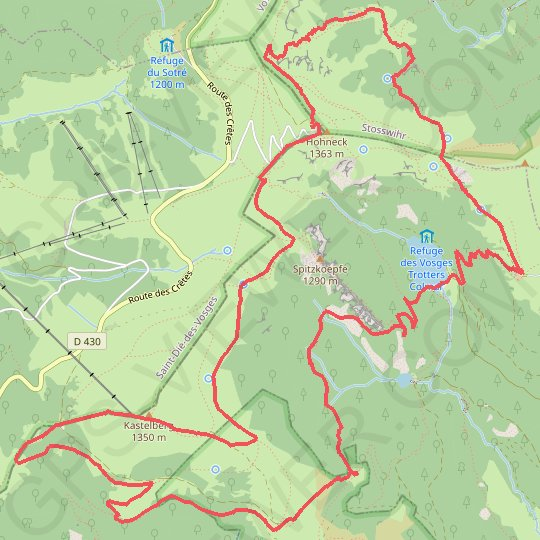 Honeck-Kastelberg-Schiessrothried-Falimont GPS track