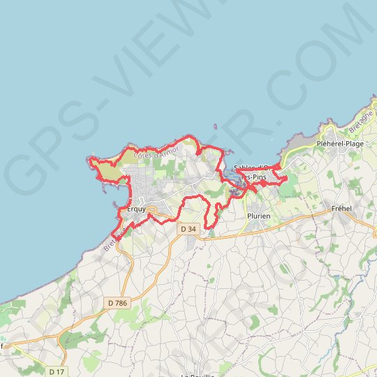 Erquy - Sables d'Or les Pins GPS track, route, trail