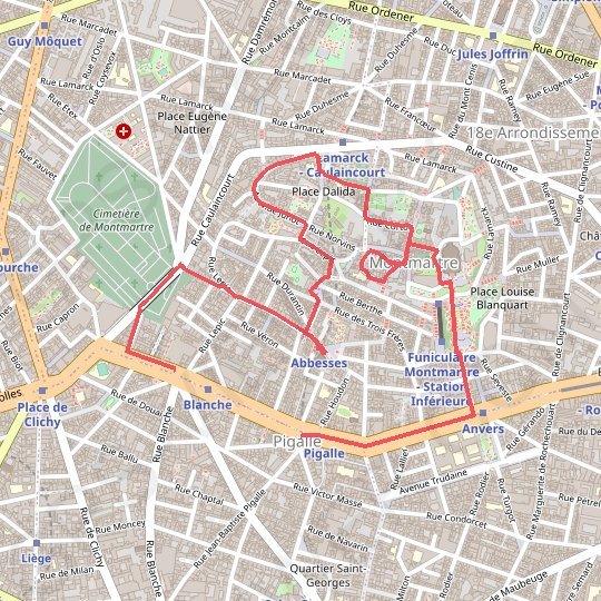 Balade Montmartre GPS track, route, trail