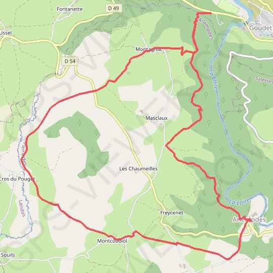 Goudet-Arlempdes GPS track, route, trail