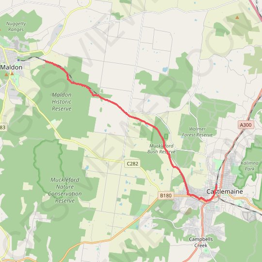 Maldon - Castlemaine - Railway Track GPS track, route, trail