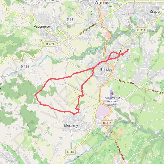 Boucle brindas Messimy GPS track, route, trail