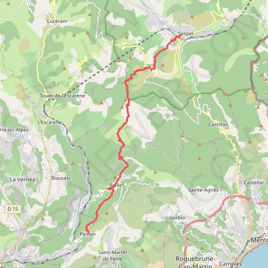 Sospel > Peillon (Via Alpina) GPS track, route, trail
