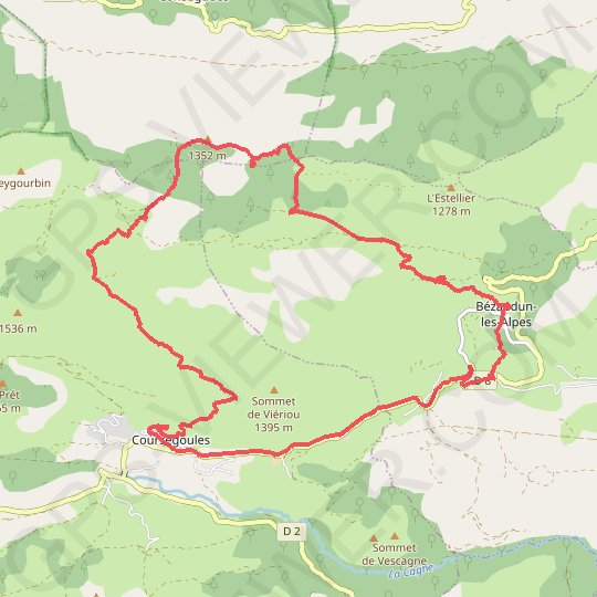 Coursegoule vtt GPS track, route, trail