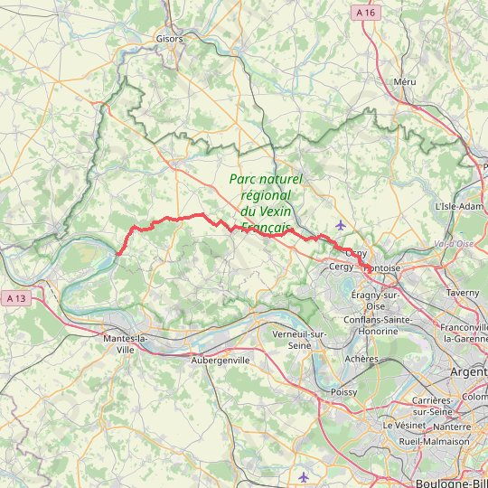 Pontoise - Vetheuil GPS track, route, trail
