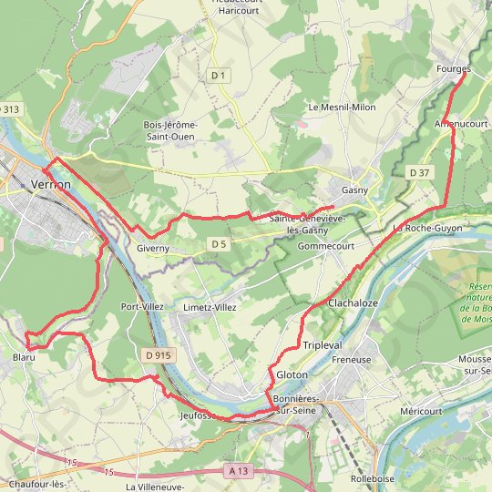 Fourges-Vernon-Bennecourt-Fourges GPS track, route, trail