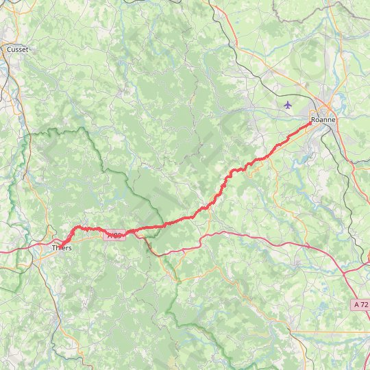Thiers Roanne GPS track, route, trail