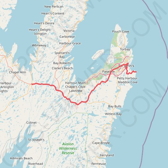 Whitbourne - St. John's GPS track, route, trail
