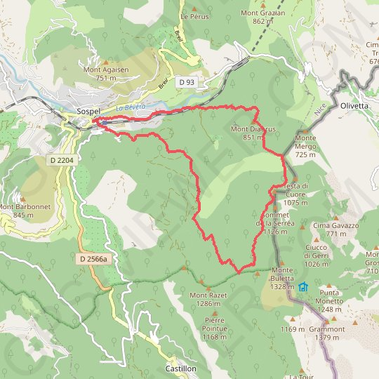 Circuit du Cuore GPS track, route, trail