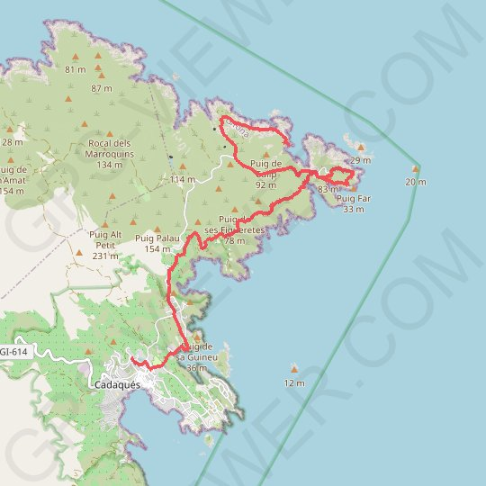 Cadaques GPS track, route, trail