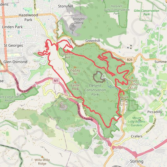 Tour of Cleland Conservation Park GPS track, route, trail