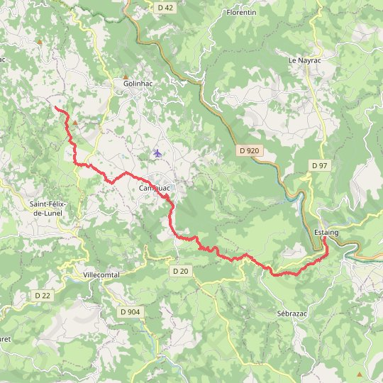 D'Estaing a Campagnac GPS track, route, trail