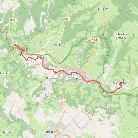 De Saint come d'olt a Estaing GPS track, route, trail